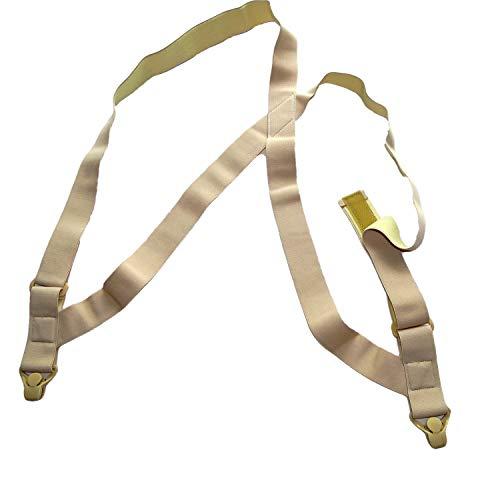 Hold Brand hidden undergarment beige side-clip style Suspenders with airport friendly Beige Gripper - Undergarment Mens