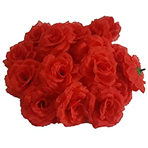 Eternal Blossom Silk Rose Flower Head, 20PCS for Hat Clothes Album Decoration, Wedding Decoration (Red) 30