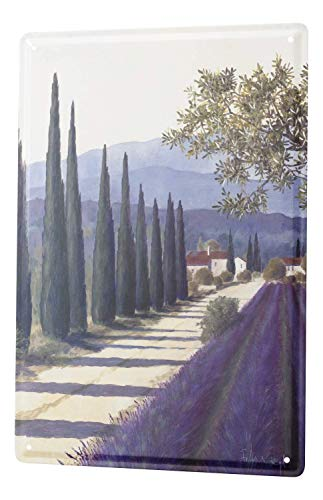 Jesiceny New Tin Sign Gallery Painter Franz Heigl Picture Tuscany Landscape Lavender Zypressenallee Aluminum Metal Sign 8x12 INCH