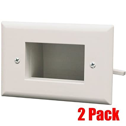 Whit DataComm 45-0008-WH 1-Gang 2 PACK Recessed Low Voltage Wall Cable Plate