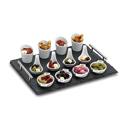 Commichef Natural Tapas And Serving Tray With Stainless Steels Handle Set, Slate, 13-Piece (Tapas Dish Set)