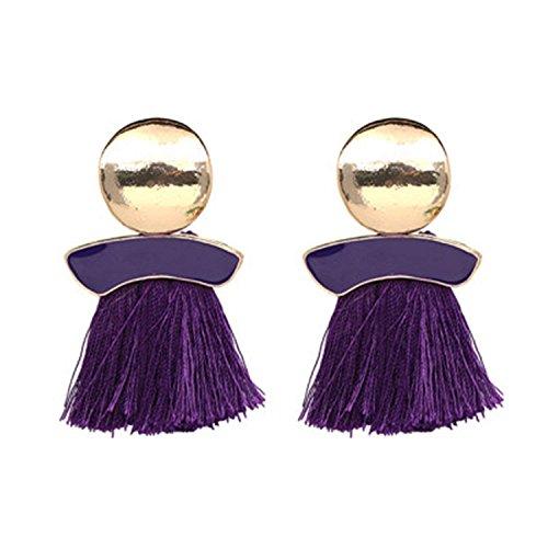 Rising ON 10 Colors Charm Fashion Statement Tassel Drop Earrings For Women Bohemian Multi Color Fringed Gift Dangle Long Earrings,Purple -