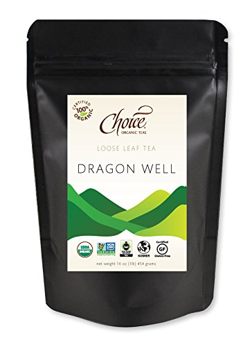 Choice Organic Teas Green Tea, Loose Leaf (1 Pound Bag), Dragon Well - Organic Dragon Well