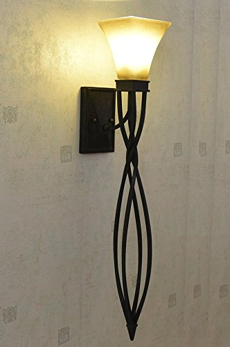 LIGHT- American country style Iron Light body cloth lampshade Living room background wall lamp, Corridor balcony door lamp by Wall lamp 208