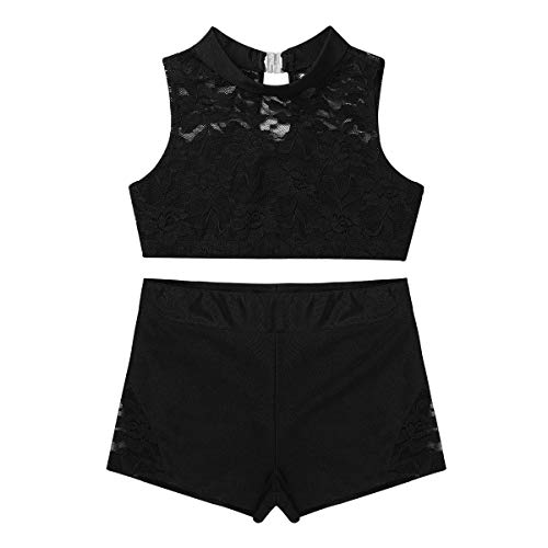MSemis Girls' Kids 2-Piece Active Set Dance Sport Outfits Racer Back Top and Booty Short Gymnastics Dancing Clothes Black Lace 12-14