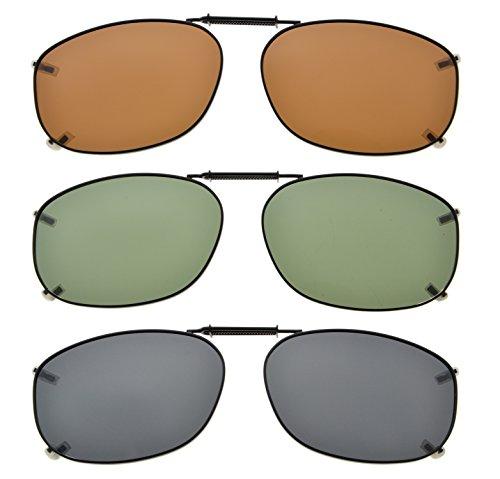 Mix Marco 37MM 3pcs metal de Eyekepper lente borde sol Clip sobre del polarizada gafas 54 Tpnnq1A