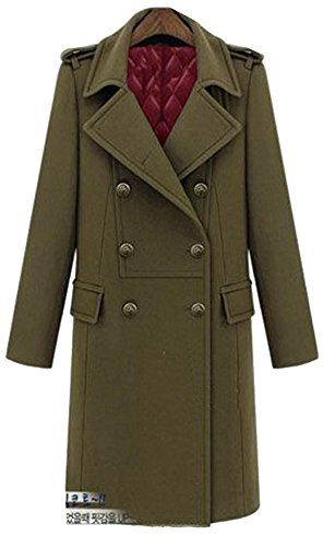 Lightweight Worsted Wool Suit (Lingswallow Women's Vintage Double Breasted Lapel Wool Blend Long Outwear Trench Coat Green)