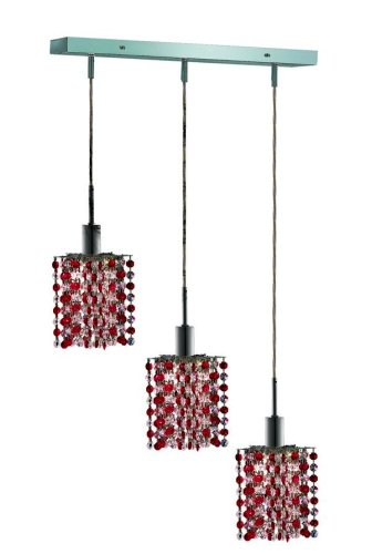 Chrome Bordeaux Pendant Lighting (Elegant Lighting 1383D-O-P-BO/RC Mini 8-Inch High 3-Light Chandelier, Chrome Finish with Bordeaux (Red) Royal Cut RC Crystal)