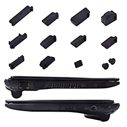 Silicone Anti Dust Plugs Set for PC Laptop and Notebook Computers, FORITO Anti-Dust Plug Protection Set, 13-Pieces (Universal Model Black)