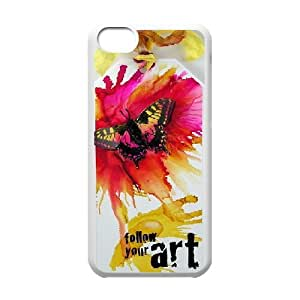 Cathyathome Butterfly IPhone 5C Case Colorful Butterfly For Women Protective, Cell Phone Case For Iphone 5c, [White]