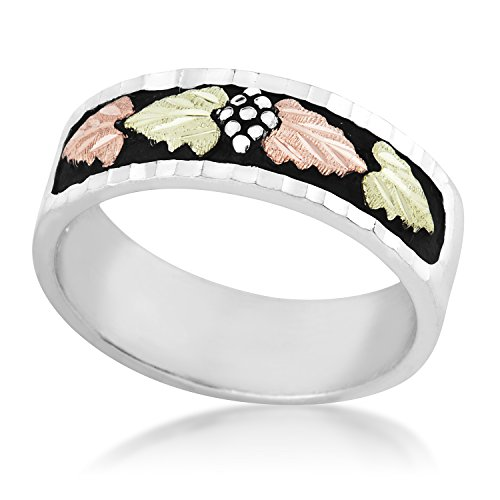 Men's Onyx Cross Ring, Sterling Silver, 12k Green and Rose Gold Black Hills Gold Motif, Size 9