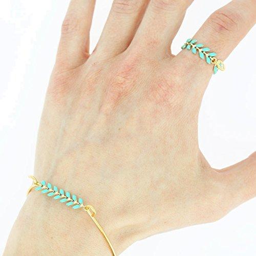 Perles /& Co Cadena Espiga esmaltados 6.3 mm Verde de Grise Plateado x 50