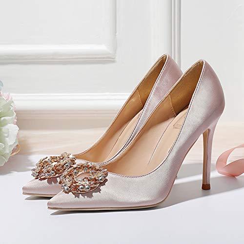 HRCxue Pumps Pumps Pumps Nude Farbe High Heel Stiletto Spitze Strass Schnalle einzelne Schuhe flachen Mund Champagner Brautjungfer Hochzeit Schuhe Brautschuhe edd160