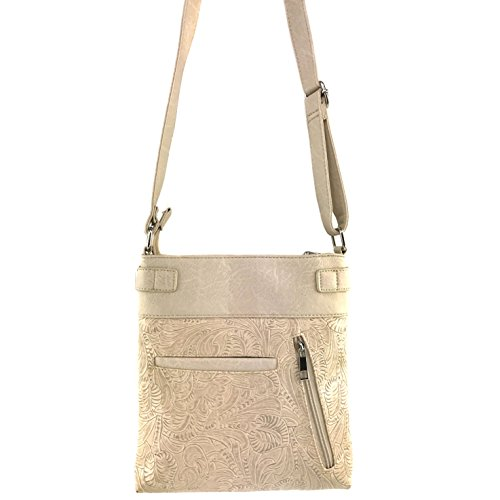 Carry Skull Laser West Concealed Handbag Messenger Tooled Winged Crossbody and Roses Sugar Cut Beige with Justin Phone Purse Bag Slot FfRZqww