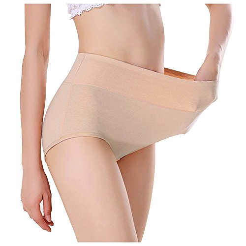 3 Pack Women's Plus Size Modal Panties Full Coverage Briefs Underwear Panty (Waist (28inch-39inch), Nude) -
