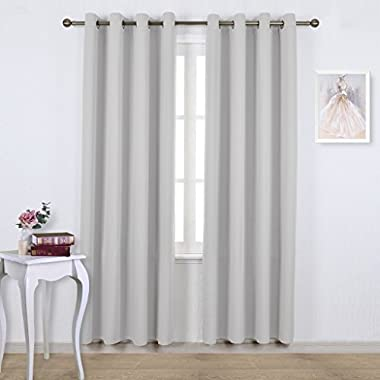 Nicetown Easy Care Solid Thermal Insulated Grommet Room Darkening Curtains / Drapes For Bedroom (2 Panels,52 by 84,Greyish White)