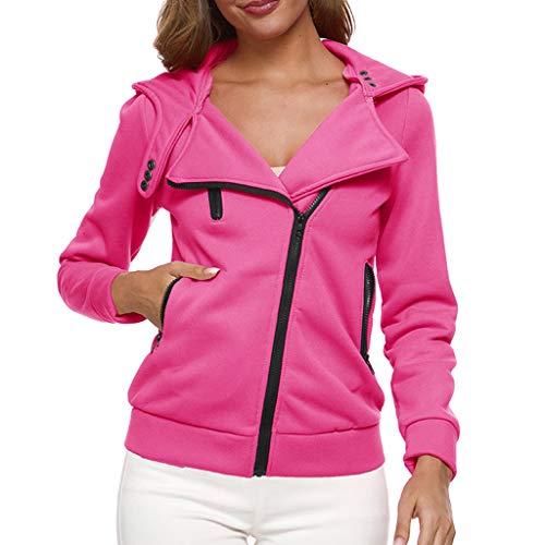 Women's Tops Thermal Long Hoodie Zip Up Jacket Hooded Warm Coat Casual Jackets Hot Pink (Tupac Jacket Varsity)