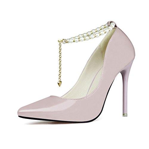 Cinturino Alla Caviglia Moda Cinturino Tacco Stiletto Pompe Per Le Donne Scarpe Da Sposa A Punta Viola Chiaro
