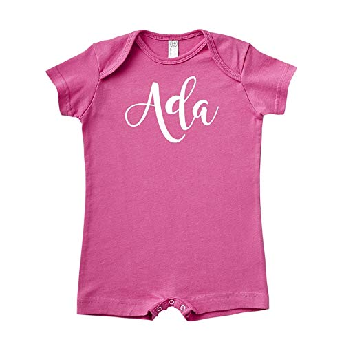 Mashed Clothing Ada - Personalized Name Baby Romper (Raspberry Newborn)