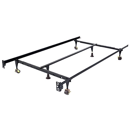 Abbeydh Size Adjustable Steel Bed Frame with Casters