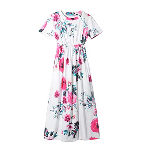 Londony Women's Clothing Girl's Summer Short Sleeve Floral Printed Empire Waist Long Maxi Dress with Pockets White