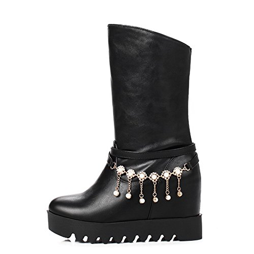 BalaMasa Womens Pull-on Boots Comfort Urethane Boots Black g3sj5vcT