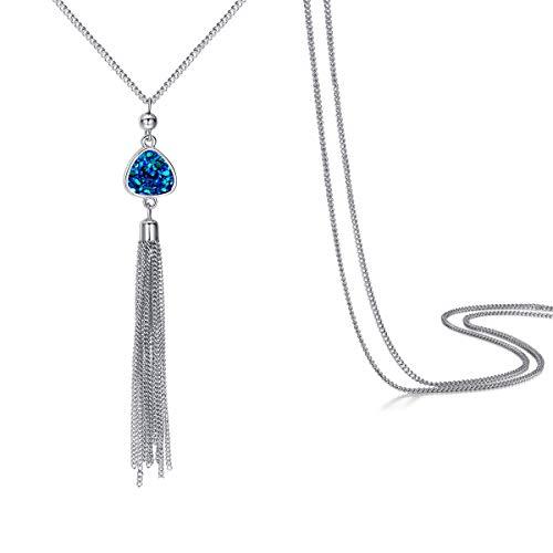 MissNity Long Chain Tassel Necklace Pendant Druzy Quartz Sweater Chain Bohemian Style for Women (A04-blue)