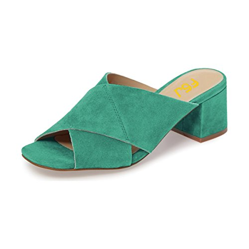 Mules FSJ 15 Casual Sandals Comfortable Shoes Faux Green 4 Chunky US Heels Low Toe Size Open Women Suede rrH4pvq