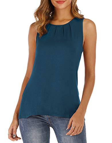 - THANTH Womens Sleeveless Tank Tops Summer Tees Round Neck Pleated Loose Casual Shirts Blouses Navy M