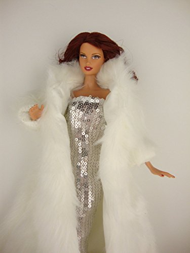 White Floor Length Fur Coat and White Sequined Fitted Gown Made for Barbie Doll