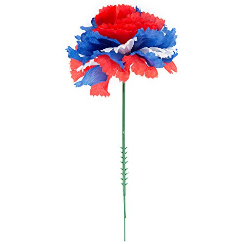 100 Red/White/Blue Flag Silk Carnations, Artificial Fake Flower for Bouquets, Weddings, Cemetery, Crafts & Wreaths, 5