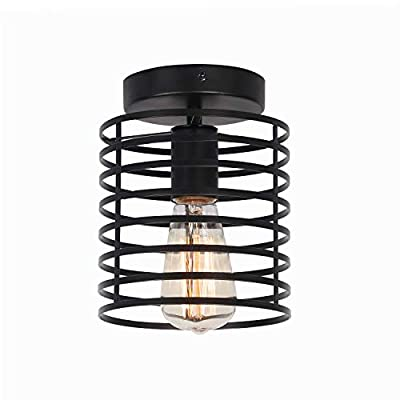 Unitary Brand Vintage Black Metal Round Shade Kitchen Semi Flush Mount Ceiling Lighting with 1 E26 Bulb Socket 60W Painted Finish