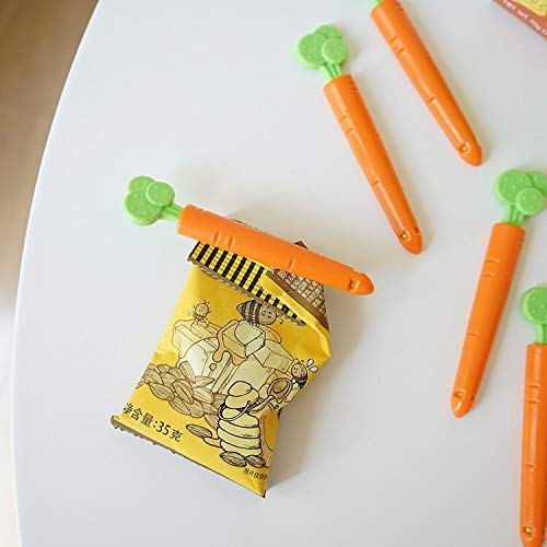 Karmiir Sealing Clips Carrot Cartoon Bag Clips with Magnets for Food and Snack Bags Storage 5 pack