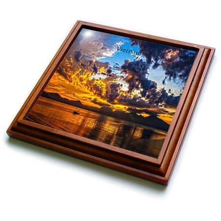 3dRose lens Art by Florene - Worlds Exotic Places - Image of Gorgeous Sunset Over Da Nang Vietnam - 8x8 Trivet with 6x6 ceramic tile (trv_302048_1)