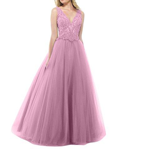 Tuell Promkleider La Partykleider 3 Dunkel mia Brau Abendkleider Rosa Langes Spitze Abschlussballkleider Prinzess Tanzenkleider tatWBf4wq