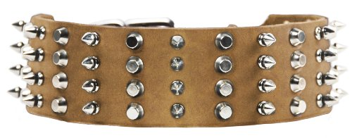"Dean and Tyler ""4 ROW COMBO"", Extra Wide Dog Collar with Nickel Spikes and Studs – Tan – Size 32-Inch by 2-1/4-Inch – Fits Neck 30-Inch to 34-Inch"