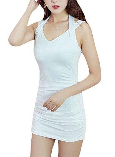 Di Jaycargogo In Sexy Forma Colore Solida Vestito Sottile Club Del Backless Bianco Donne Bodycon awIaEqr0