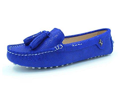 Minitoo Dames Girsl Glisser Sur Le Cuir En Daim À Lacets Pompons Chaussures De Conduite Occasionnels Mocassins Flats Serpent Imprimé Bleu Royal