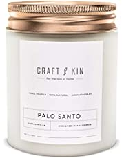 Palo Santo Scented Candles | Wood Wicked Candles | Palo Santo Candle, All Natural Soy Candles Scented, 8 oz | 45 Hour Long Lasting Soy Candle, Relaxing Aromatherapy Candles in White Glass Jar