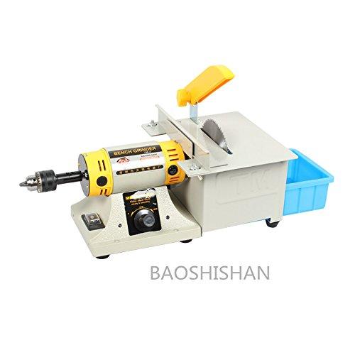 BAOSHISHAN TM-2 110V/220V 最新 ミニテーブルソー 多機能小型卓上丸鋸盤 ブレード木工チェーンソー 精密切断カービング研磨に最適(左:グラインダー; 右:テーブルソー) (110V) 110V   B07BS44CXZ