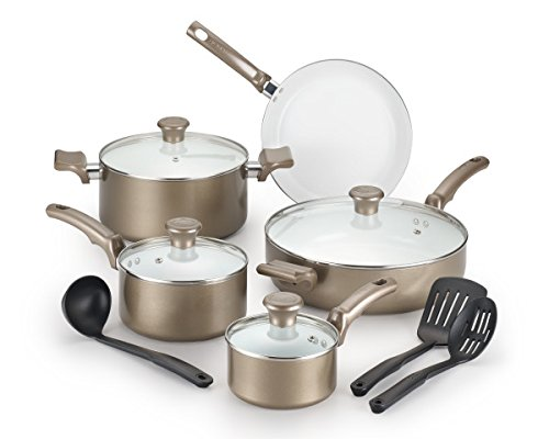 T-fal C991SE Ceramic Chef Cookware Set, 12-Piece, Champagne