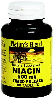 Nature's Blend Niacin 500 mg Tablets Timed Release - 100 Tablets, Pack of 5