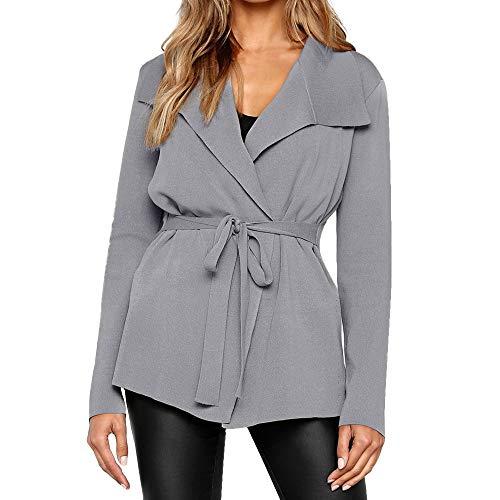 TnaIolr Womens Lapel Collar Trench Cardigan Coat Jacket
