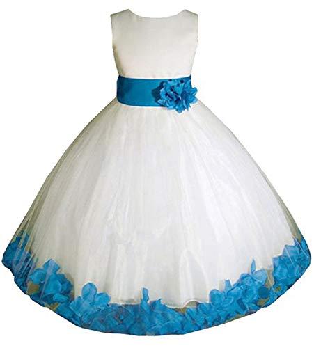 AMJ Dresses Inc Little-Girls' Ivory/Turquoise Flower Girl Dress E1008 Sz 6 -