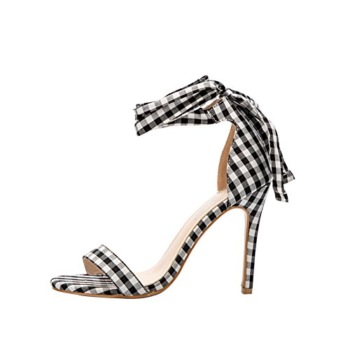 Plaid High Heels Strappy Stiletto Summer Lace Up Sandals Party Weeding Office Club Ladies Shoes