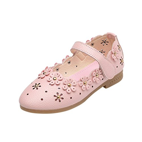 Rucan Child Baby Girls Fashion Sneaker Single Leather Pricness Shoes (Pink, 7-7.5 Years)