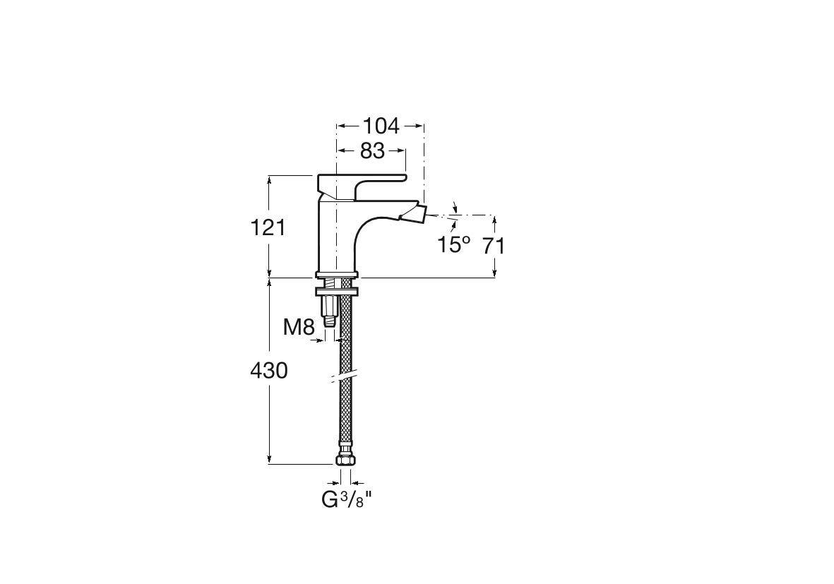 Roca A5A6B09C00 L20 monocomando catena Xl Miscelatore per rubinetto bidet