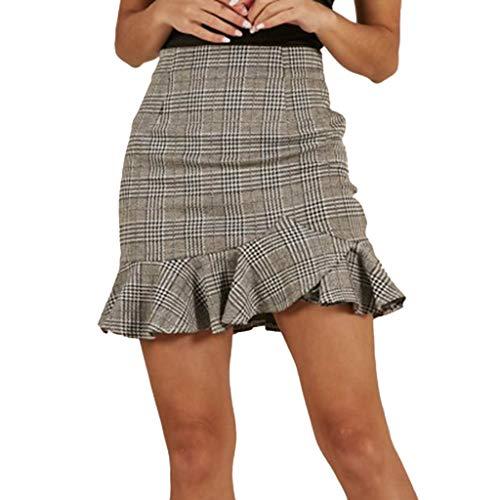 Charm Ruffled Skirt (Goddessvan Ruffled Skirt, Women Sexy Plaid Printing Casual Party High Waist Hip Mini Skirt)
