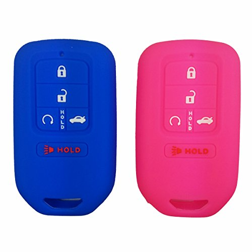 2Pcs Coolbestda Silicone Key Fob Cover Case Skin Jacket for A2C81642600 2015 2016 2017 Honda Civic Accord Pilot CR-V 5 Butons Full Protector Blue Rose