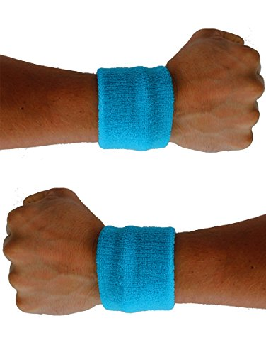 Extreme 80's Neon Blue Sweatband Unisex-Adult (80s Neon Fashion)